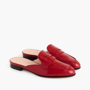 New JCREW Academy Penny Loafer Mules Red Patent